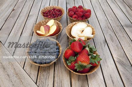 Various fruits in waffle bowls