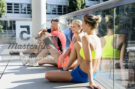 Runners taking break