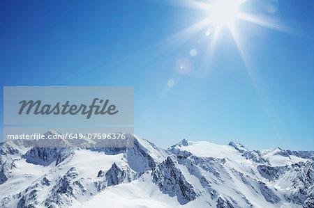 View of snow covered mountain range, Hochgurgi, Austria