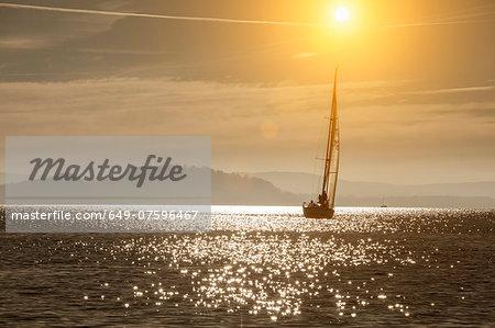 Yacht sailing on Lake Maggiore, Piemonte, Novara, Italy