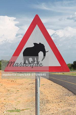 Elephant warning sign, Kasane, Chobe National Park, Botswana, Africa