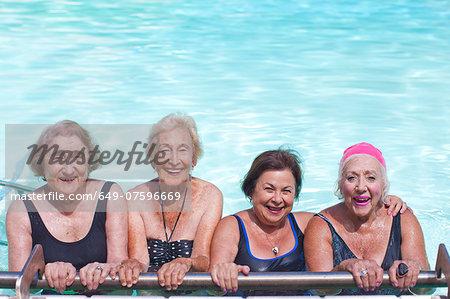 Portrait of four senior women in swimming pool