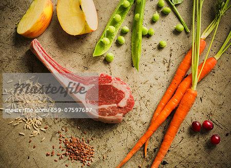 Raw Lamb Chop with Fresh Ingredients