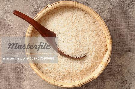 Basmati rice in a bamboo basket