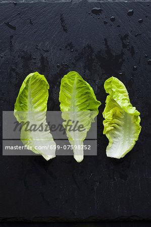 Three lettuce leaves