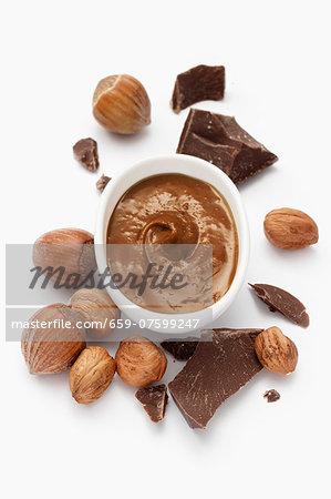 Nougat paste, hazelnuts and chunks of chocolate