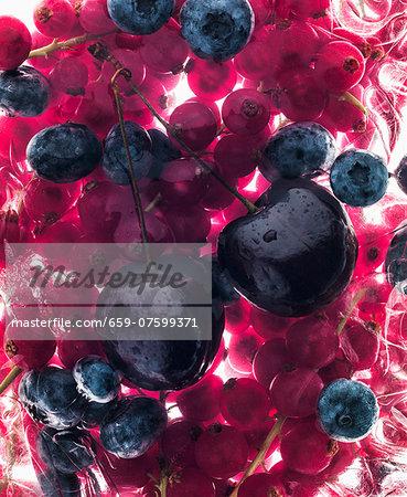 Cherries, blueberries and strawberries