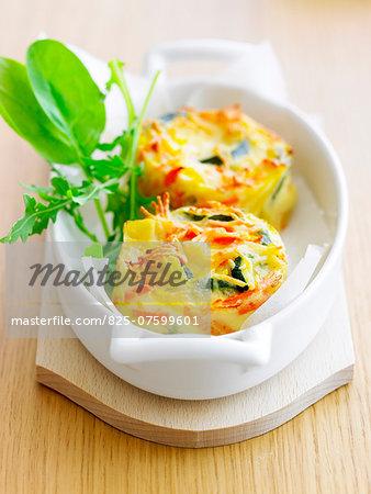 Zucchini and carrot mini flans