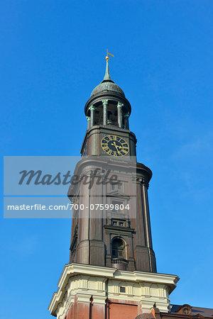 Close-up of church steeple at St Michaelis, Hamburg, Germany