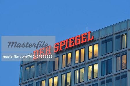 Der Spiegel Headquarters, Office Building at Dusk, Hamburg, Germany