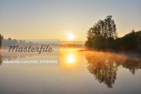 Lake at Sunrise in the Spring, Mondfeld, Mainfranken, Franconia, Baden Wurttemberg, Germany
