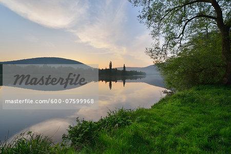 River Main in the Dawn, Spring, Bestenheid, Wertheim, Spessart, Mainfranken, Franconia, Baden Wurttemberg, Germany
