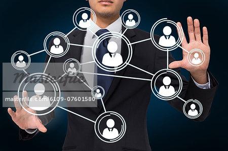 Businessman touching profile interface