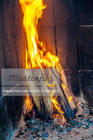 Fire in open fireplace, Jamtland, Sweden
