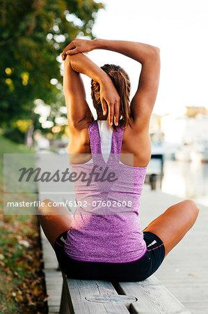 Woman stretching, Uppsala, Sweden