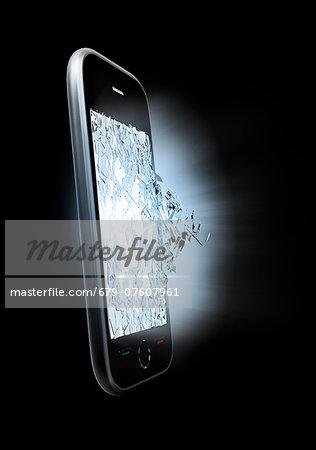 Broken smartphone screen, artwork.