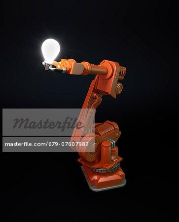 Artwork of robotic equipment holding a lightbulb.