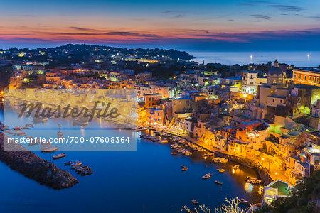Night View of Marina Corricella, Procida, Gulf of Naples, Campania, Italy.