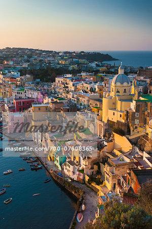 Vertical View of Marina Corricella, Procida, Gulf of Naples, Campania, Italy.