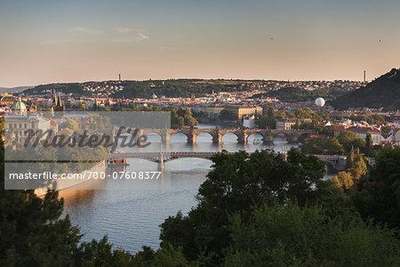 View of the Vltava River, Prague, Bohemia, Czech Republic.