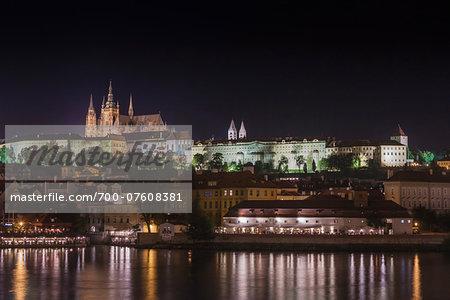 Night View of the Prague Castle from Jiraskuv Bridge, Prague, Bohemia, Czech Republic.