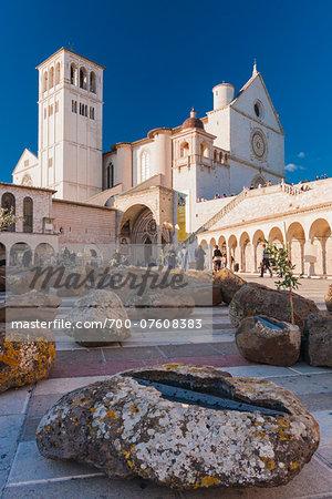 Low angle view of San Francesco's Basilica, Assisi, Umbria, Italy