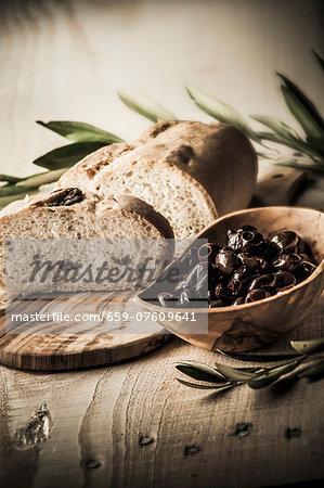 Olive bread and black olives