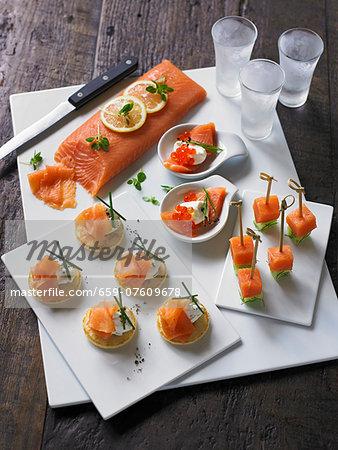 Smoked salmon canap