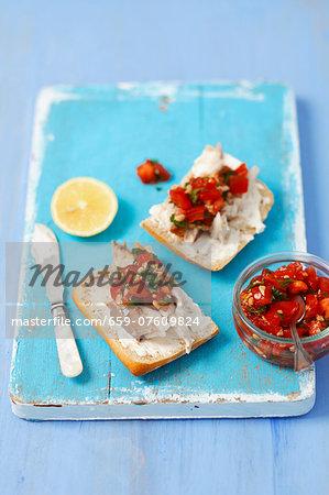 Ciabatta with smoked mackerel and tomato salsa