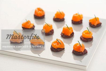 Beetroot potato cakes with smoked salmon