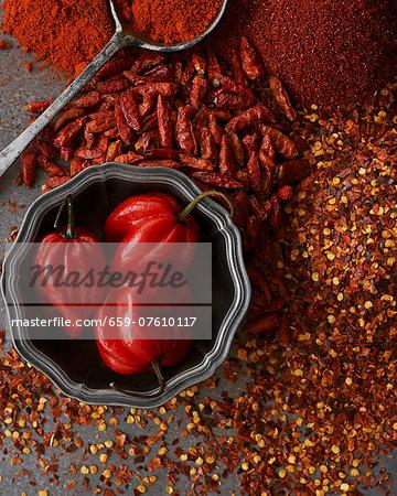 An arrangement of chillis as a spice
