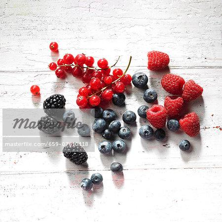 Redcurrant, raspberries, blackberries and blueberries