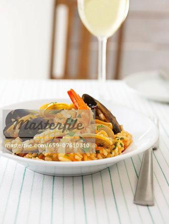 Risotto alla pescatora (rice with seafood, Italy)