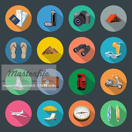 Tourism flat icons set vector graphic illustration