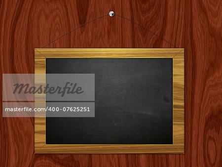 Illustration blank chalkboard, black board hanging on wooden background.