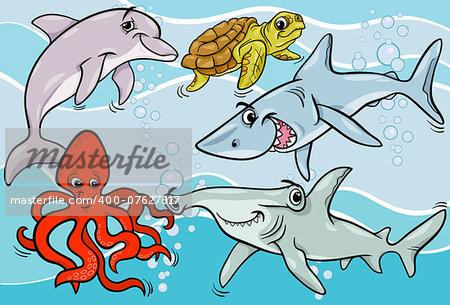 Cartoon Illustrations of Funny Sea Life Animals and Fish Mascot Characters Group