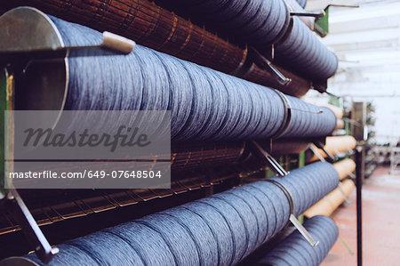 Rolls of wool in woollen mill