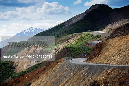 Cycling on Winding Road, Denali National Park, Alaska, USA