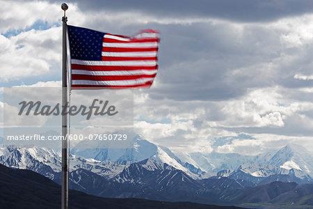 American Flag and Mountains, Denali National Park, Alaska, USA