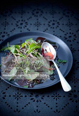 Black rice,beetroot and parmesan fancy salad