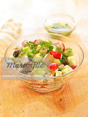 Cucumber, radish, olive and tofu salad