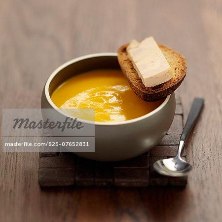 Cream of pumpkin soup with foie gras