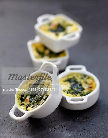 Spinach-Boursin mini casseroles