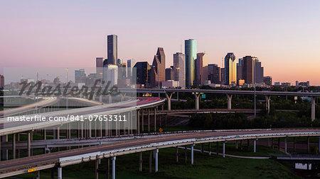 City skyline and Interstate, Houston, Texas, United States of America, North America