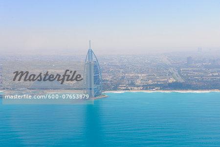 Aerial View of Burj Al Arab and Jumeirah Beach Hotel, Dubai, United Arab Emirates