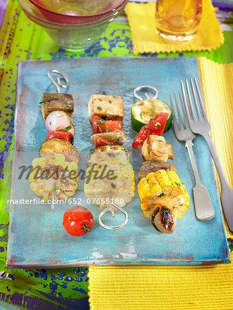 Kombu,sweet corn,red pepper and zucchini vegetarian brochettes