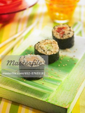 Rice,vegetable ,peanut butter and nori seaweed makis