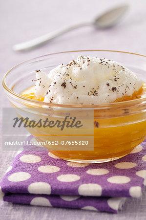 Floating island with mango puree