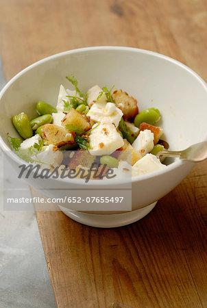 Broad bean,feta and garlic crouton salad