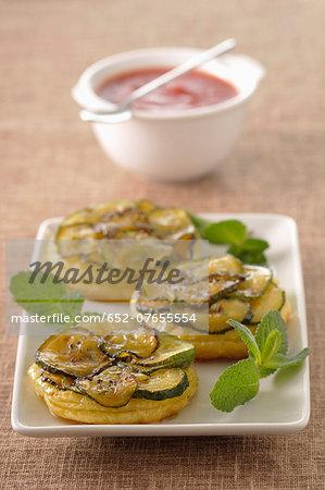 Zucchini and mint tatin tarts